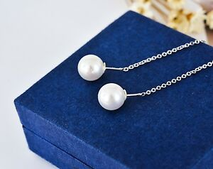 New-Genuine-925-Sterling-Silver-Elegant-White-Pearl-Dangle-Drop-Earrings-Jewelry