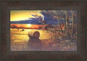 Autumn Harvest By Jim Hansel 11x15 Deer Pheasant Barn Farm