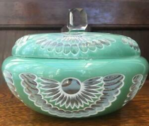 ANTIQUE-GLASS-CANDY-POT-CASE-BOWL-RARE-COLLECTIBLE-VINTAGE-ART-JAPAN-F-S