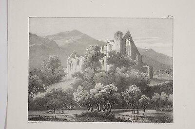 Lithographie ancienne v 1825 Ancienne Abbaye dans le Jura Villeneuve Engelmann