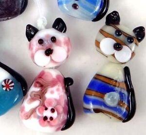 Lampwork-Handmade-Glass-Beads-Lovely-Cats-Beads