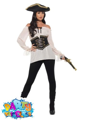 Womens Pirate Shirt Deluxe Fancy Dress Costume Accessory Lady Buccaneer Outfit