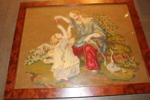 Antique-19C-Peri-Point-Needlepoint-Tapestry-Framed-Art