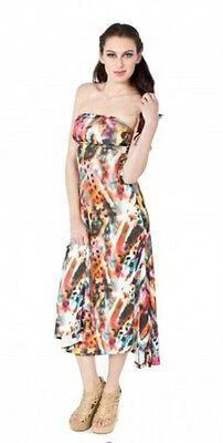 Womens Apple bottoms slinky print 2 in 1 maxi summer strapless dress holidays