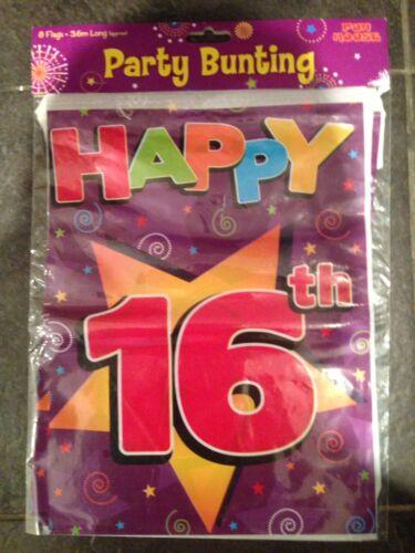 16th Birthday Party Bunting plastique 8 drapeaux Violet Rouge environ 3.6 m Fun House