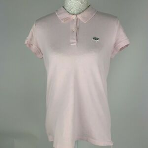 Lacoste-Devanaly-Pink-polo-Shirt-Tshirt-Size-44-Ladies-14-16-XL-Short-Sleeve