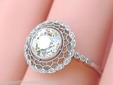 ESTATE EDWARDIAN 1.25ct EUROPEAN FLOATING DIAMOND LACEY HALO ENGAGEMENT RING
