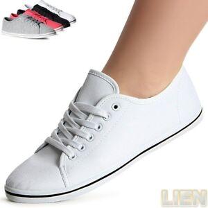 Damenschuhe-Leichte-Sneaker-Turnschuhe-Freizeitschuhe-Loafer-Basic-Trendy