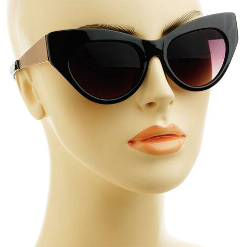 Designer Fashion Style Gold Metal Arms Womens Cat Eye Sunglasses Black