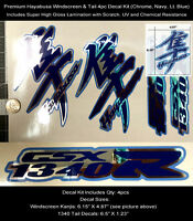 Gsxr Hayabusa Kanji & Tail Decal Kit 4pcs Windscreen Tail Chrome Laminated 0122