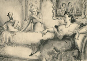 Harold Hope Read (1881-1959) - Pen and Ink Drawing, High Society Interior Scene