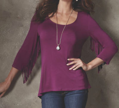 Midnight Velvet Dina Fringe Cowgirl Hippy Chic Sleeve Top Blouse Berry S 1X 3X