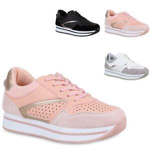 Turnschuhe Schnürer Details Neu Trendy Lack Zu Sneaker Schuhe Glitzer 821095 Damen Plateau vm0wN8Oyn