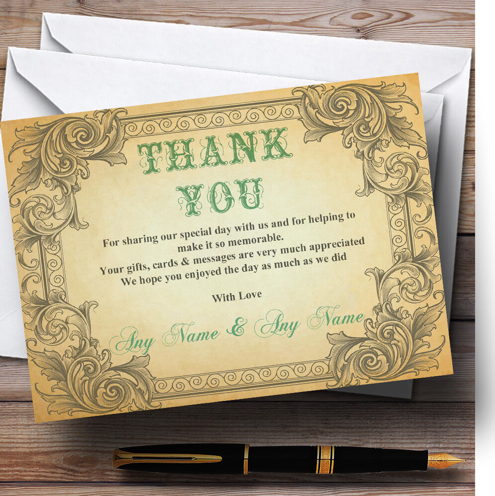 Typography Vintage Turquoise Postcard Personalised Wedding Thank You Cards