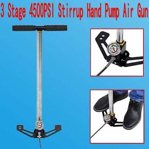 3 Stage 4500PSI High Pressure Air Rifle Airgun Hand Pump for Bike Car Ball US