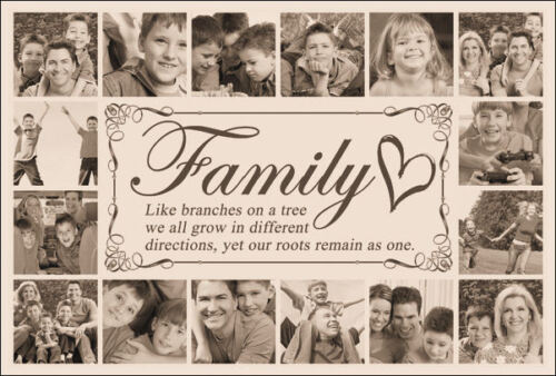 PHOTO//PICTURE MONTAGE COLLAGE FAMILY GIFT FRAMED PERSONALISED INCH CANVAS