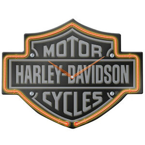 Harley-Davidso<wbr/>n Bar & Shield Shaped Neon Clock Motorcycle Garage Decor 14 x 11