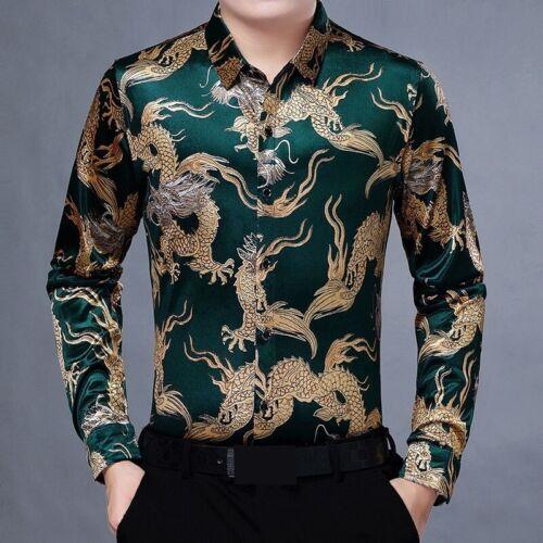 Men Velvet Shirt Chinese Gold Dragon Print Retro Animal Pattern Long Sleeve Tops