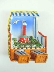 Wangerooge-Magnet-Strandkorb-Leuchtturm-Germany-Premium-Souvenir-Polyresin-NEU