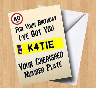 Personalised 3D Number Plate Spoof Birthday Card Car//Van//Motorbike//Lorry//Driving