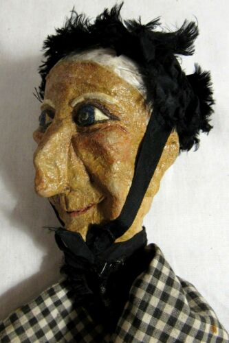 Marionette Antique Hand Made Vintage Punch and Judy PAPER MACHE FOLK ART Puppet Toy Doll Marionetten & Handpuppen