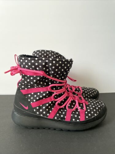 Nike Roshe One Hi Black White Polka Dot Pink Lace