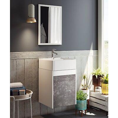 Mueble baño o aseo color blanco y pizarra lavabo cerámico y espejo incluido