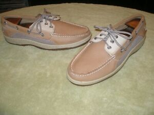 mens-size-10M-SPERRY-TOP-SIDER-0799023-BILLFISH-3-EYE-BOAT-SHOES-TAN-LEATHER-VGC