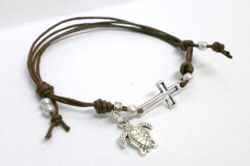 """Pulsera /""""Brown/"""" charm de plata tibetana cruz y tortuga terminada con perlas"""