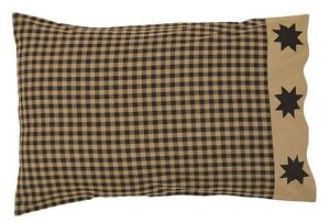 DAKOTA-BLACK-STAR-PILLOWCASE-Set-of-2-RUSTIC-TAN-COUNTRY-PRIMITIVE-COVER
