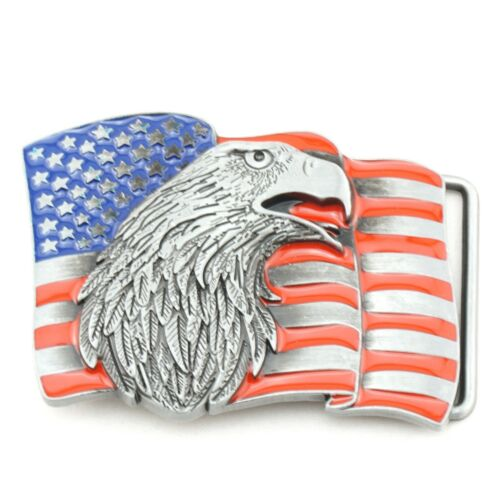 Waving USA American Flag w// Eagle Metal Fashion Belt Buckle