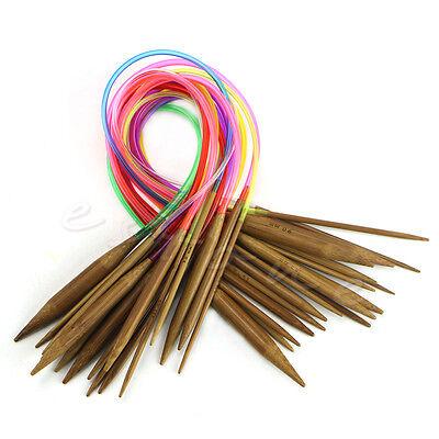 "New 18pcs 16"" 40cm Multicolor Tube Circular Carbonized Bamboo Knitting Needles"