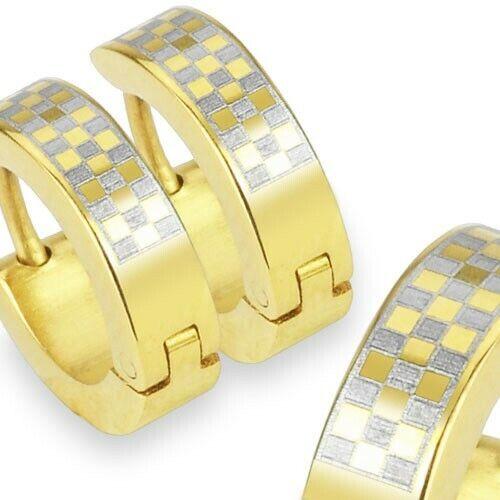 Herren Ohrringe Edelstahl gold-silber Klapp-Creolen Checker Chess Männer neu