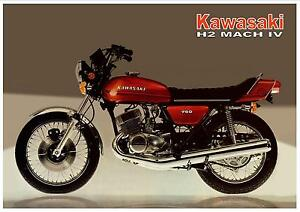 Details about KAWASAKI Poster H2 H2-A Mach IV 750cc 1973 Suitable to Frame  Orange