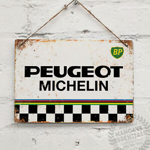Peugeot-Michelin-BP-Jersey-Vintage-Metal-Wall-Sign-Plaque-Bike-Cycle-Retro-Tom