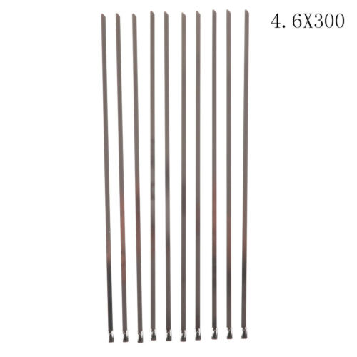 10Pcs Stainless Steel Metal Cable Ties Zip Wire Wraps Exhaust Straps TK