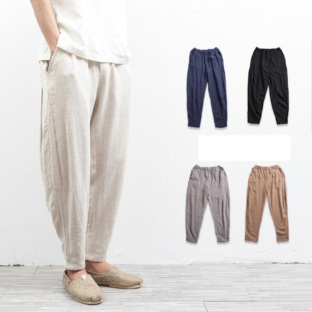 HOT Men's cotton Linen Retro trousers loose solid cotton pants Long Pants M-5XL