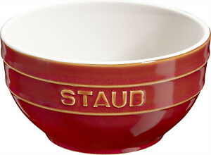 Staub-Ceramica-Frutero-Servir-Cuenco-grande-Redondo-Cobre-Rojo-14cm