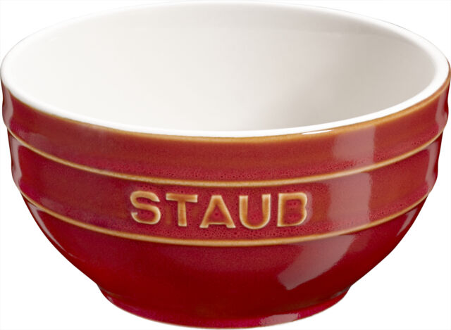 Staub Ceramic Fruit Bowl Serving Mixing Round Copper Red 14 Cm