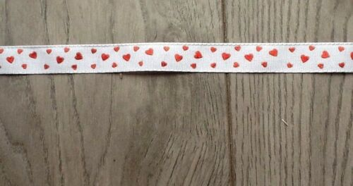 Great For Weddings Or Crafting 2 Yards By 1//2 Inch . Heart Ribbon