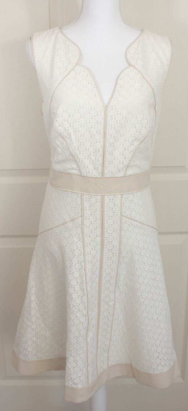 ANN TAYLOR Cream Tan Pindot Fitted Lace A-Line Flared Sleeveless Lined Dress 14