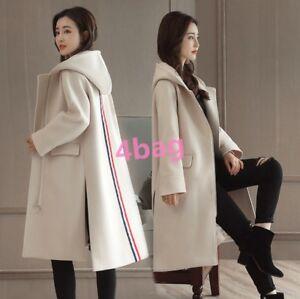 1e922786abe18 Women Korean Style Winter Warm Wool Lapel Long Trench Coat Parka ...