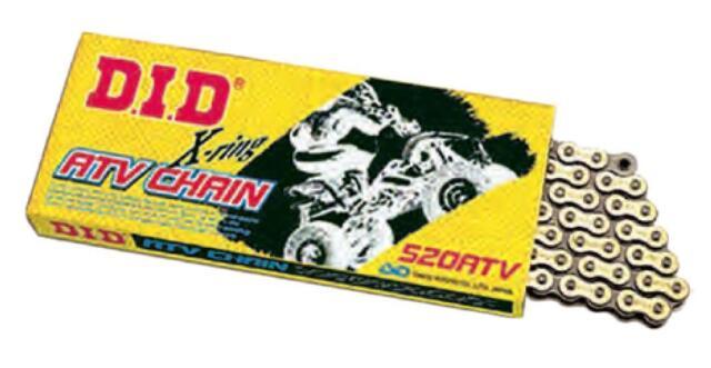 96 Links Gold D.I.D 520ATV296FB 520 ATV Series X-Ring Sealed Chain