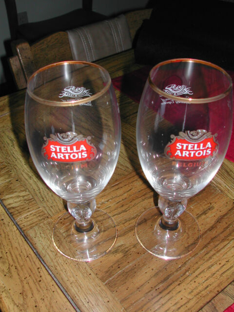 STELLA ARTOIS GOLD RIMMED 40 cl CHALACE BEER GLASSES - NEW - SET of 2 (two)
