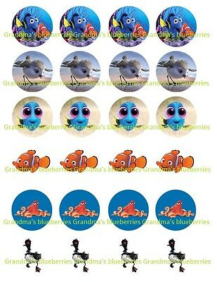 Genteel 24 Edible Pre-cut Circle Wafer Finding Nemo/finding Dory & Squirt Becky Big Clearance Sale Marvin