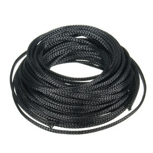 10M 4mm Black Expandable PET Braided Cable Sleeving Sheathing Wire ...