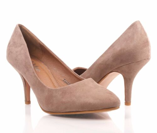 "2 Color Faux Suede Pointed Toe Slip on Womens 3"" Stiletto Kitten High Heels"