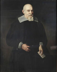 Art-Oil-painting-male-portrait-old-man-in-black-cloth-holding-letter-in-studio