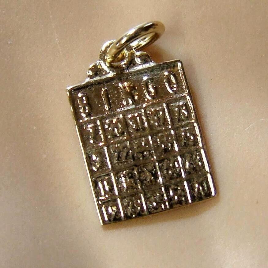 9ct 9ct 9ct oro NUOVO Bingo Carta Charm 11a2b7
