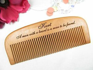 Image Is Loading Personalized Engraved Wood Beard Comb Fear The